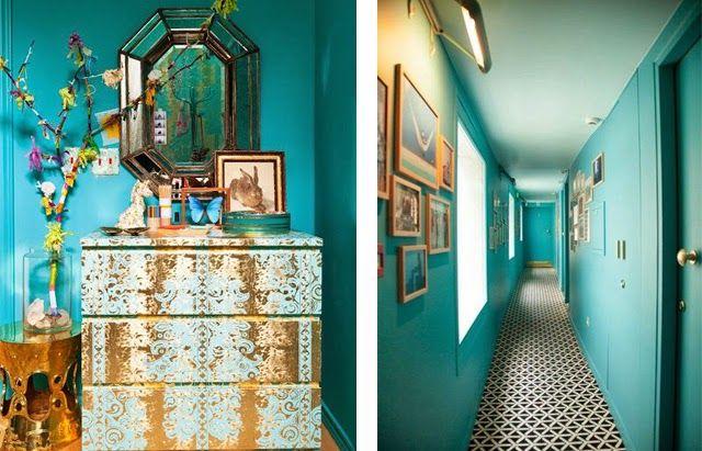 Tendance peinture murs couloirs bleu petrole