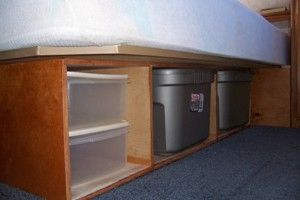 Remodel our RV bed to improve RV interior storage