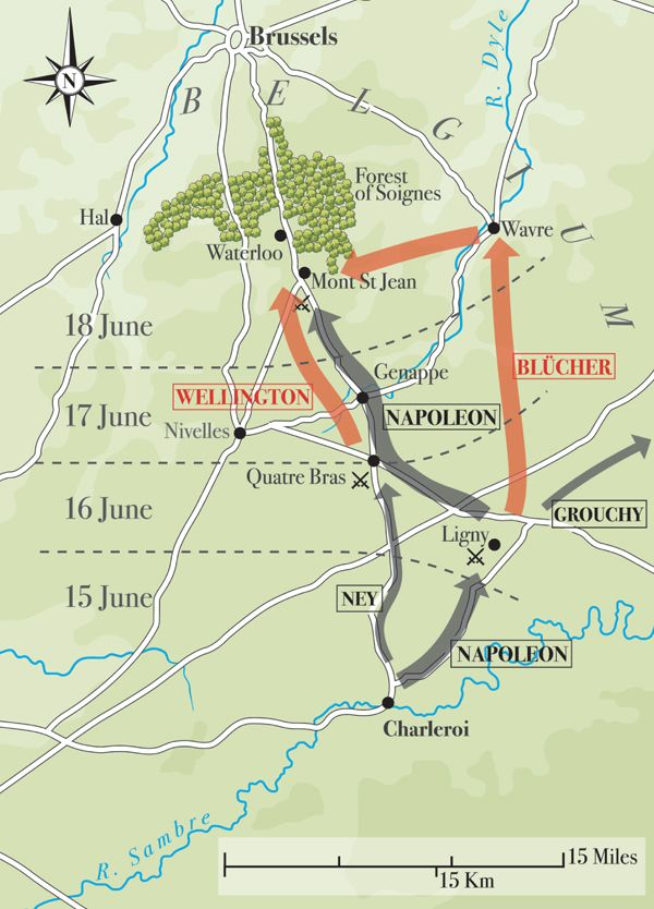 Waterloo – map of the movements of the French, British, and Prussian forces from the 15 to the 18 June, 1815. Military History Monthly Battle Maps.