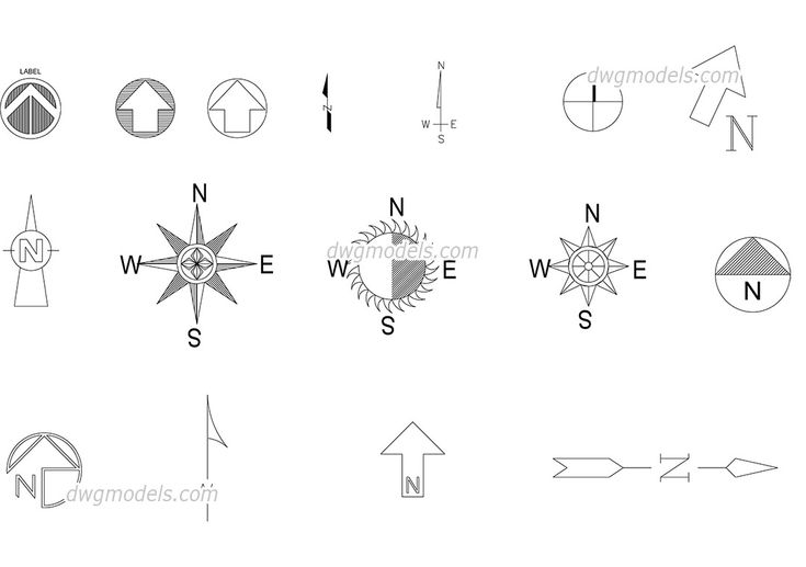 Plan Autocad North Symbol