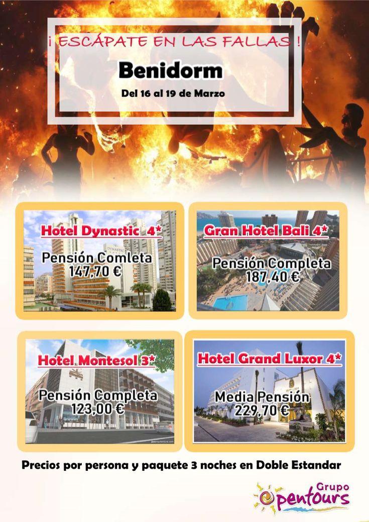 | GRUPO OPENTOURS | . Especial BENIDORM - FALLAS 2018 ----> 16 AL 19 Marzo ---- Desde 123 € en PC, por persona y 3 noches. ---- Resto condiciones de esta oferta en www.opentours.es ---- Información y Reservas en tu - Agencia de Viajes Minorista - ---- #benidorm #alicante #costablanca #escapadas #paquetes #fallas #fallas2018 #playadelevante #playadeponiente   #hoteles #vacaciones #estancias #ofertas #actividades #familias #niños #agentesdeviajes #agenciasdeviajes #opentours #grupoopentours