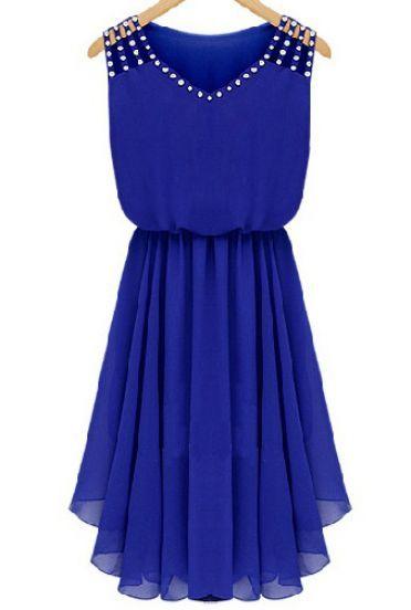 Blue Sleeveless Rhinestone Hollow Pleated Chiffon Dress