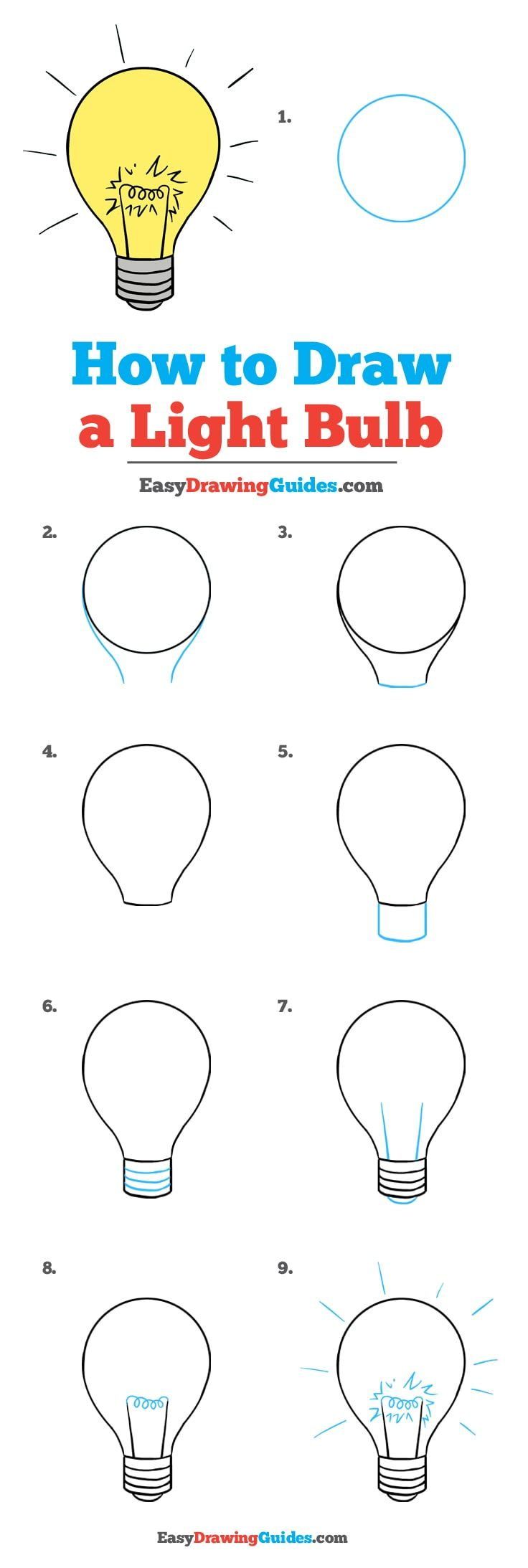 Learn How to Draw a Light Bulb: Easy Step-by-Step Drawing Tutorial for Kids and Beginners. #Light Bulb #DrawingTutorial #EasyDrawing See the full tutorial at https://easydrawingguides.com/draw-light-bulb/.