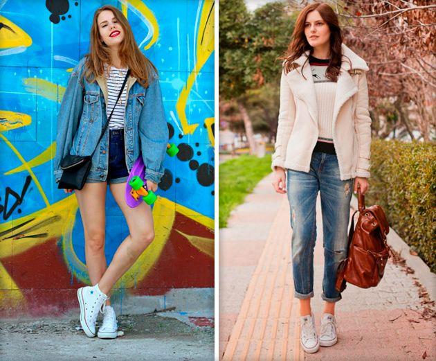 С чем носить белые конверсы (низкие, высокие, с шипами и кожаные) — идеи и фото луков