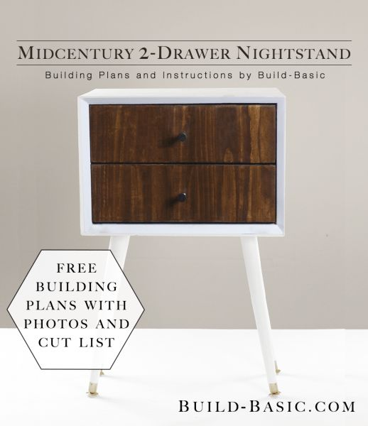 Build a DIY Midcentury 2-Drawer Nightstand