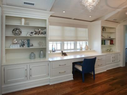 Traditional Home Office With Wall-Length Desk