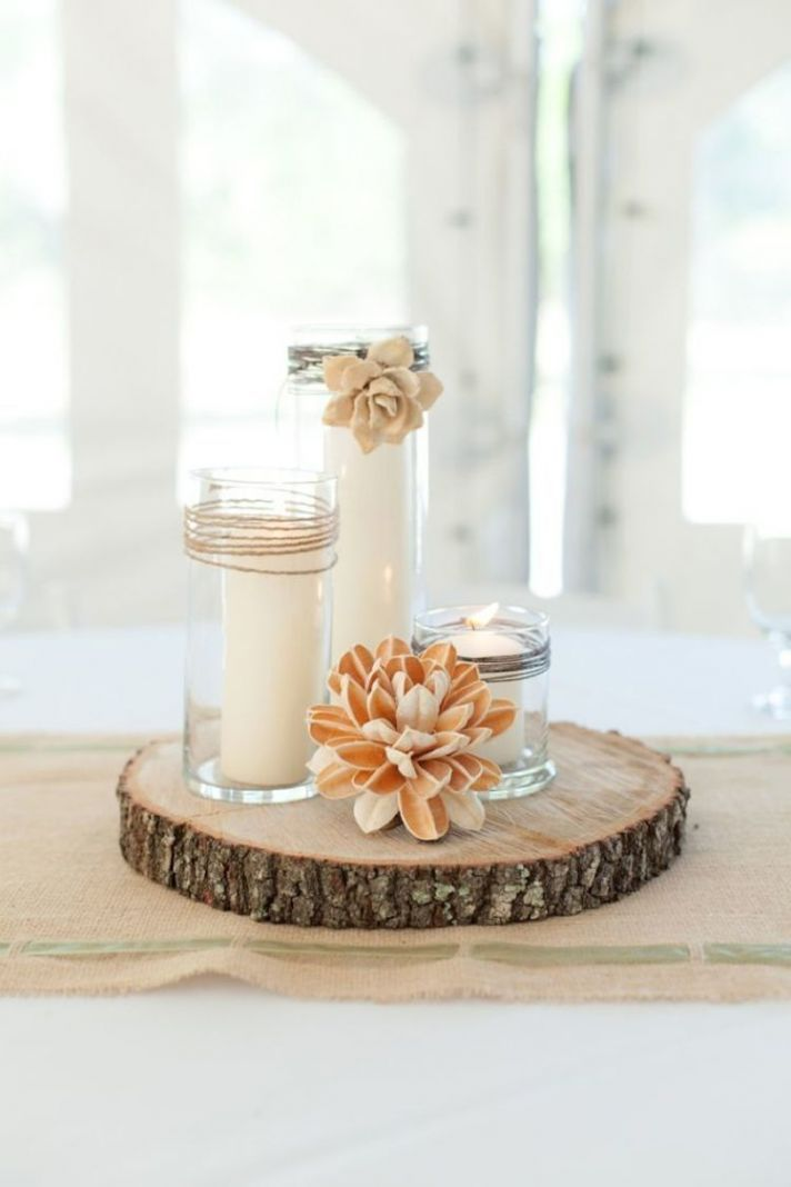 Simple And Sweet Nonfloral Centerpiece With Candles, Twine, And A Wood Slab
