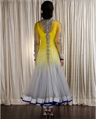 Ombre Chartreuse Yellow & Ash Gray Suit with Zardozi Embroidery by http://www.kisneelbypam.com/ . via Hetal & Humaira Merchant