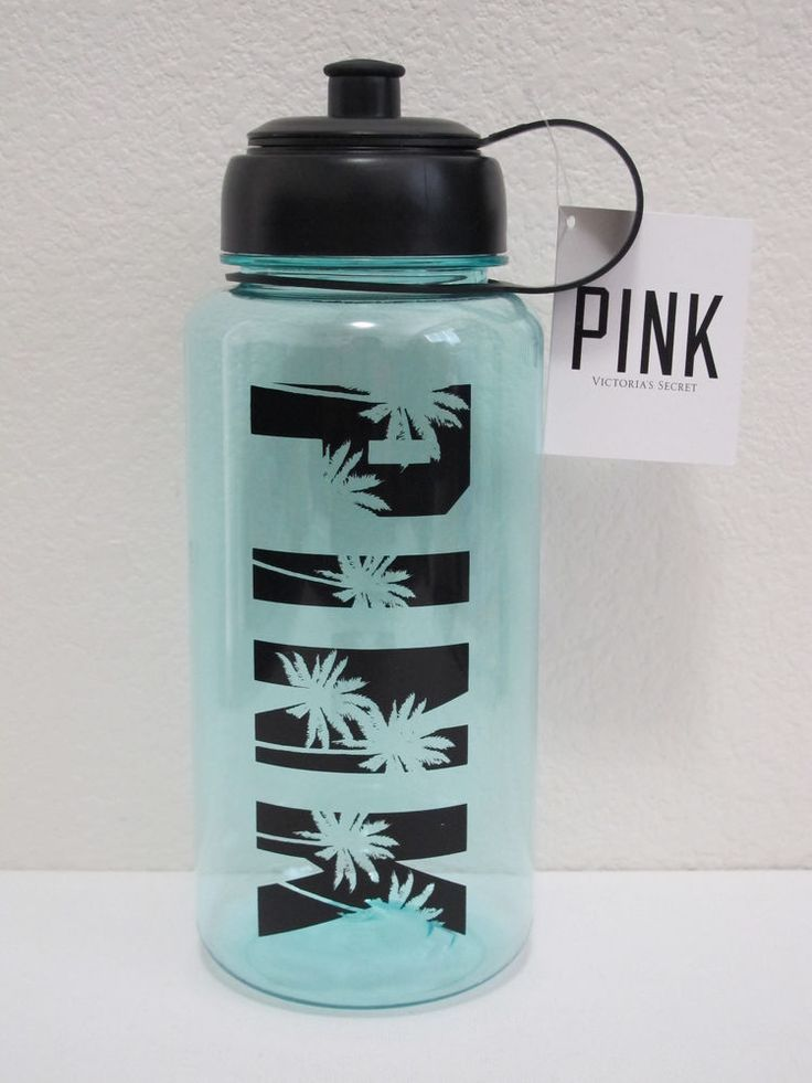 NWT Victoria's Secret PINK Light Mint/Aqua Tropical Palm Logo Water Bottle 32oz #VictoriasSecretPINK