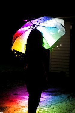 An umbrella that reflects a rainbow on the floor around you