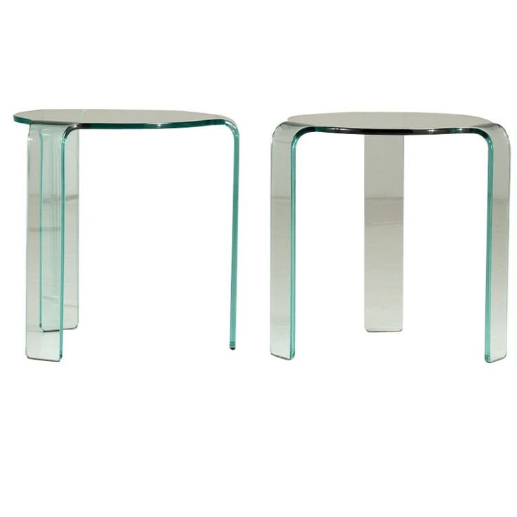 Pair Of Fiam Italia Designed Curved Glass Side Tables