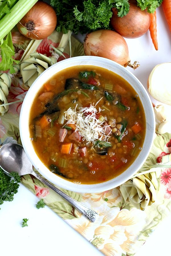 Make a pot of hearty Charleston Lowcountry Lentil Soup. This southern recipe is easy and full of carrots, celery, onion, tomatoes and of course, lentils. Inspired by a visit to Charleston, South Carolina.