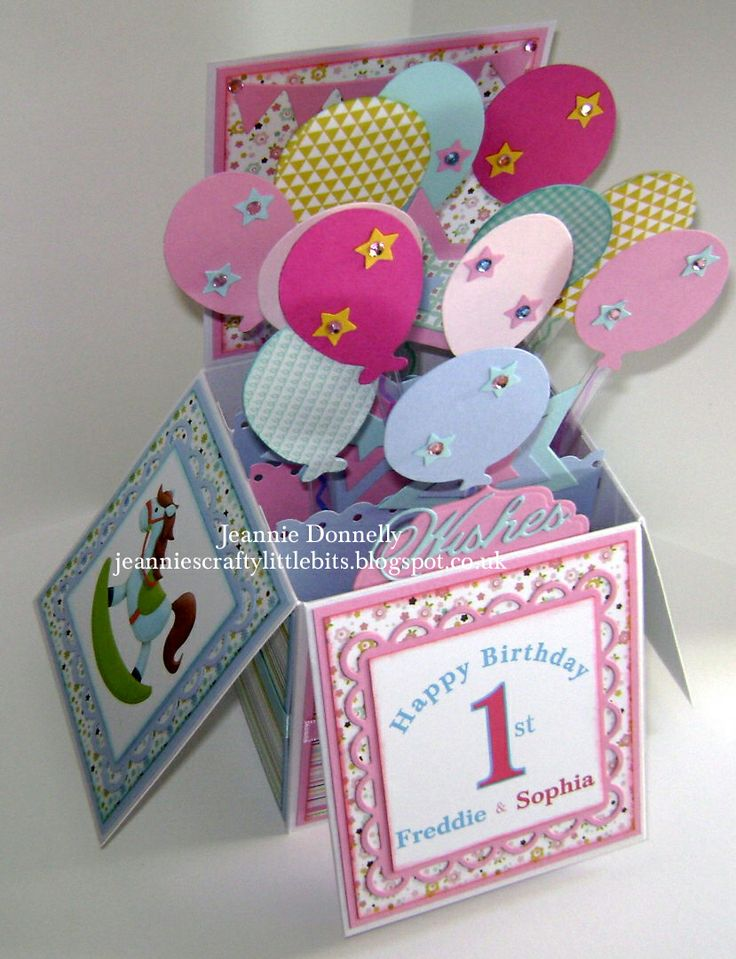 Another Card in a Box, card for a 1st birthday - #Sizzix Balloons and Stars…