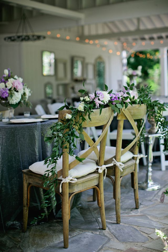 Lavender and green garland chair decor | Kristyn Hogan Photography | see more on: http://burnettsboards.com/2014/10/lavender-southern-wedding/