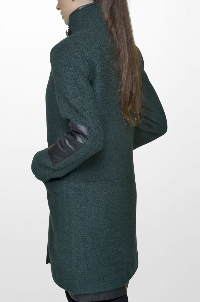 Sarah Lawrence - coat with stand up collar & fake leatheret details.