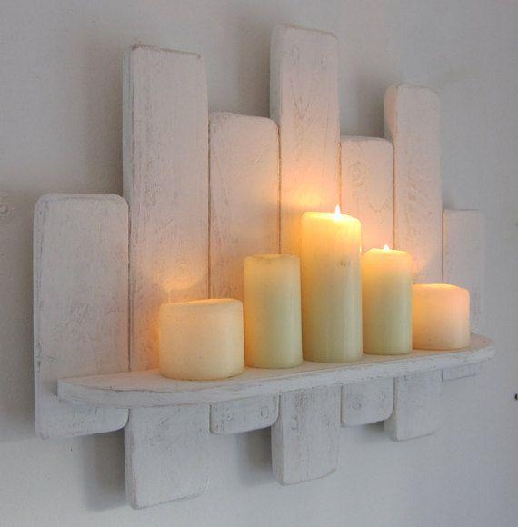 64 cm Shabby chic distressed white floating shelf / led candle