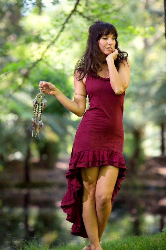 Mexican Flamenco Salsa Dress Red Bohemian Gypsy by AryaClothing