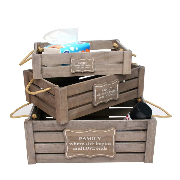 3 Caixas de madeira SET FAMILY