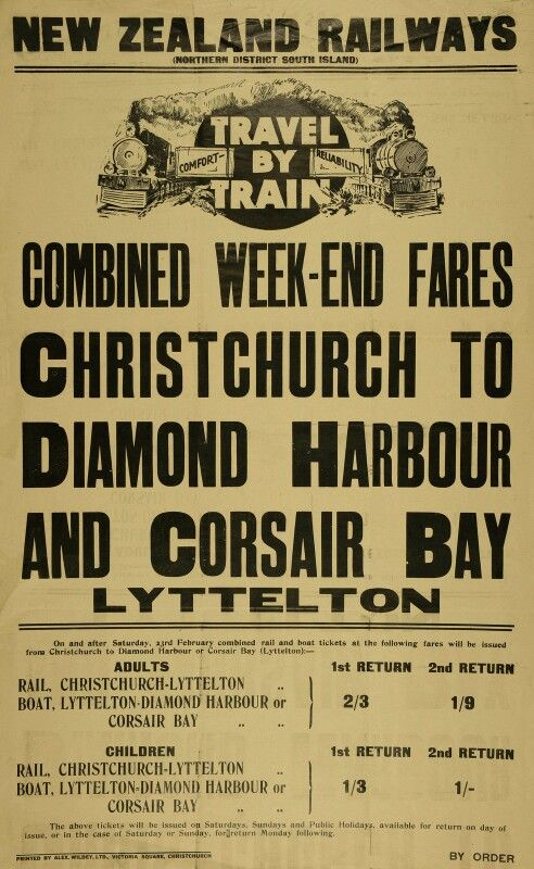 NZR, New Zealand Railways Poster - Travel by Train Combined Week-end Fares Christchurch to Diamond Harbour & Corsair Bay, Lyttelton c.1924