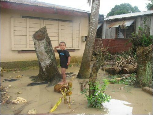 My nephew in Tonga 2009 it rained all night.