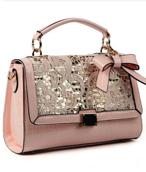 Sweet pink cute lace bowknot handbag