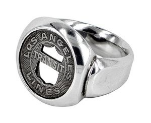 LA Tramcar Token ring in sterling silver and recycled tramcar token - $440