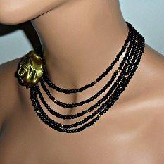 Multi fila negro y oro de 5 filas collar por mmanach en Etsy, $275.00