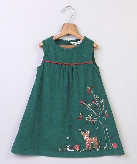 6823fb1f4a7ab Beebay Green Deer Appliqué Sleeveless Dress - Newborn, Infant, Toddler &  Girls | zulily
