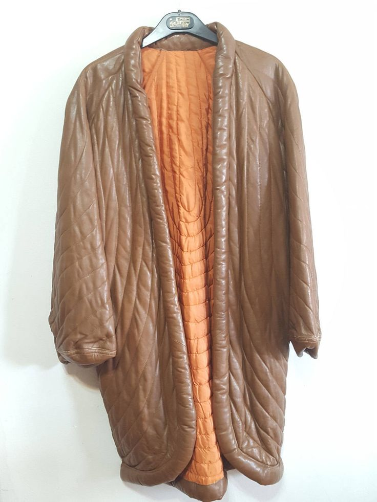 Fendi Leather Quilted Vintage Womens Wrap Coat Blanket Hipster Gypsy Boho Chic 70s Issy Miyake Yoto Komoto Gifts for her Cocoon Fashion