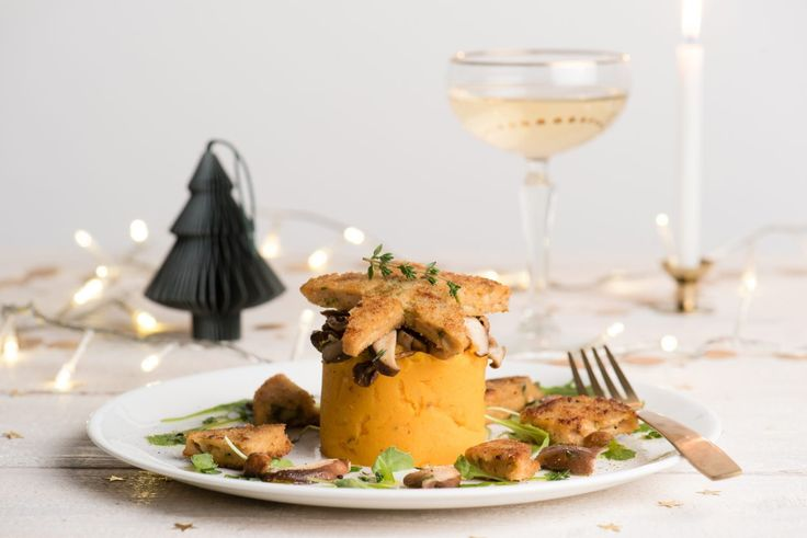 Mashed pumpkin with asparagus burger Christmas dinner main dish