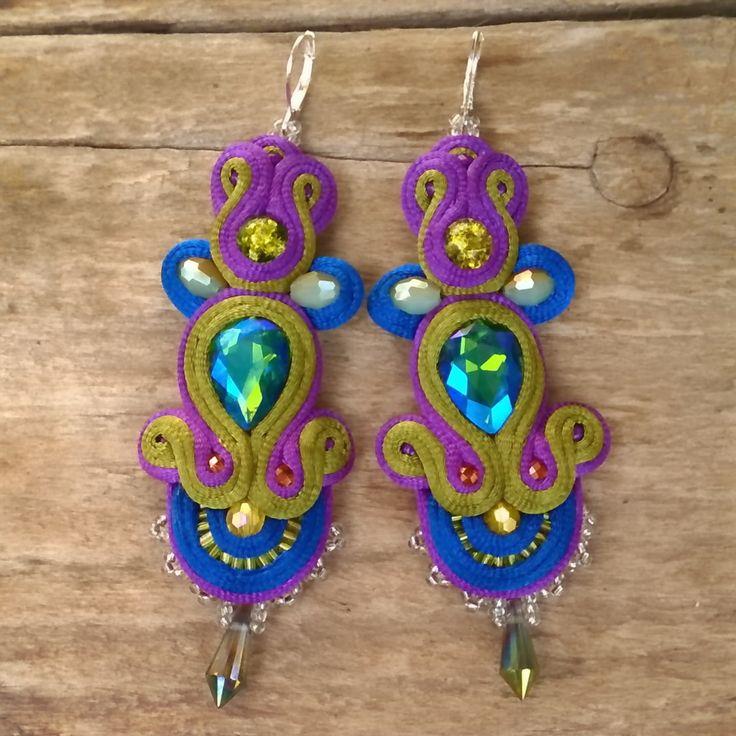 #soutache #jewelry #etsy #boho #crystals #swarovski #chile #handmade #hechoamano