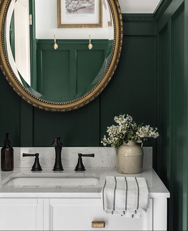 Forest Green Vibes Via Jennasuedesign How Do You Feel About Dark Deep Colors In The Home We Really Love T Bathroom Inspiration Bathroom Design House Design