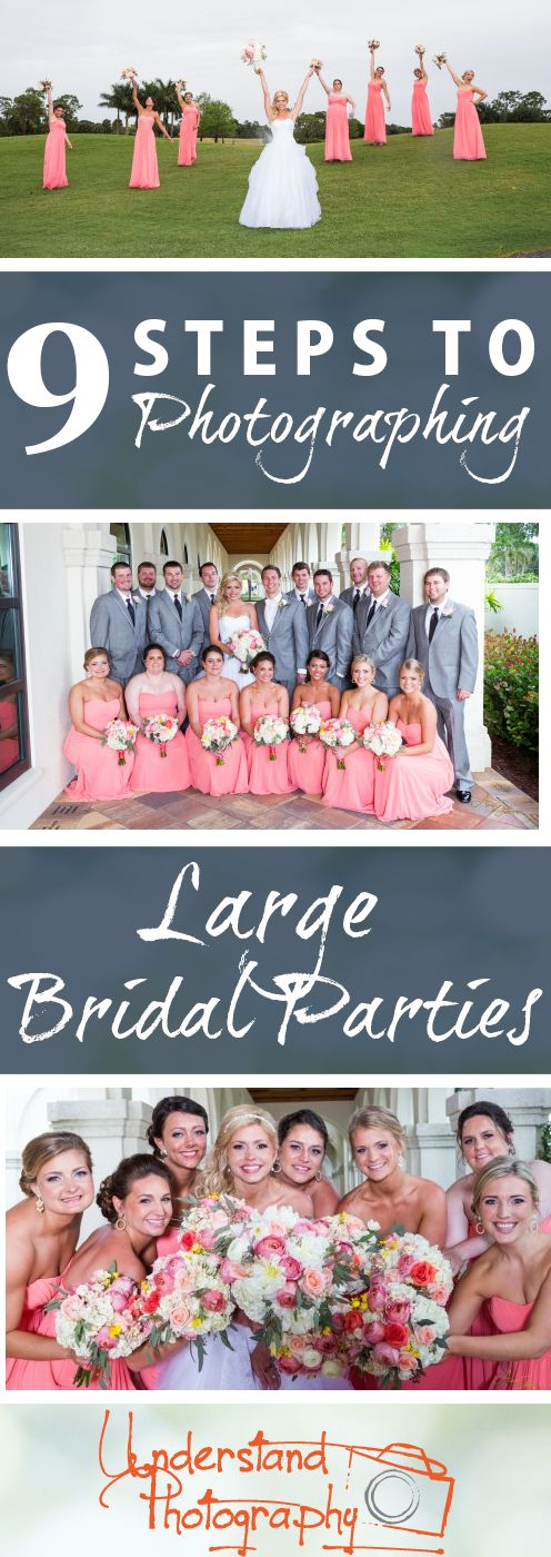 9 Steps to Photographing Large Bridal Parties: This tutorial provides examples of poses and tips for taking beautiful photos of a large bridal party! Learn how to make the most of your limited time and get the best photos possible. Understand Photography knows how to Simplify the Technical! Visit our website for tutorials, photography tips and advice, as well as classes, trips and excursions.