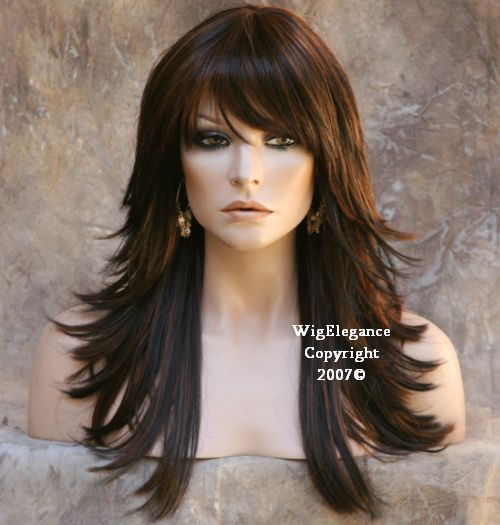 Multi Layered Black Auburn Mix Wig Wigs Bangs Flip FN | eBay