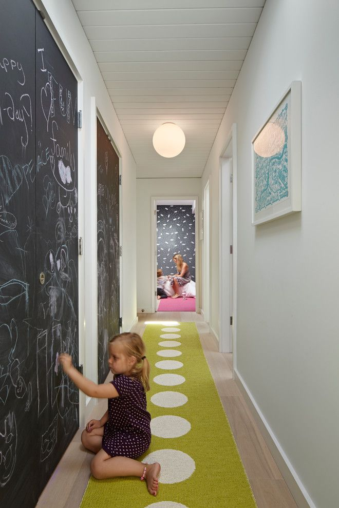 Remarkable Chalkboard Paint decorating ideas for Foxy Kids Midcentury design ideas with CEILING LIGHT chalkboard paint Doors hall rug hardwood floor rug runner wall