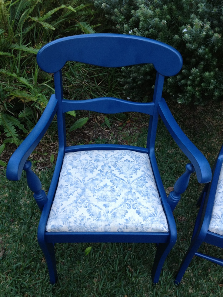 Beautifully restored blue dining chairs. Reupholstered with cotton damask print - it could take you back to a romantic french moment!  Sale $265 ea for chairs 4 available. $280 ea for carvers 2 available