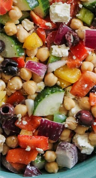 The Easiest Chopped Chickpea Greek Salad