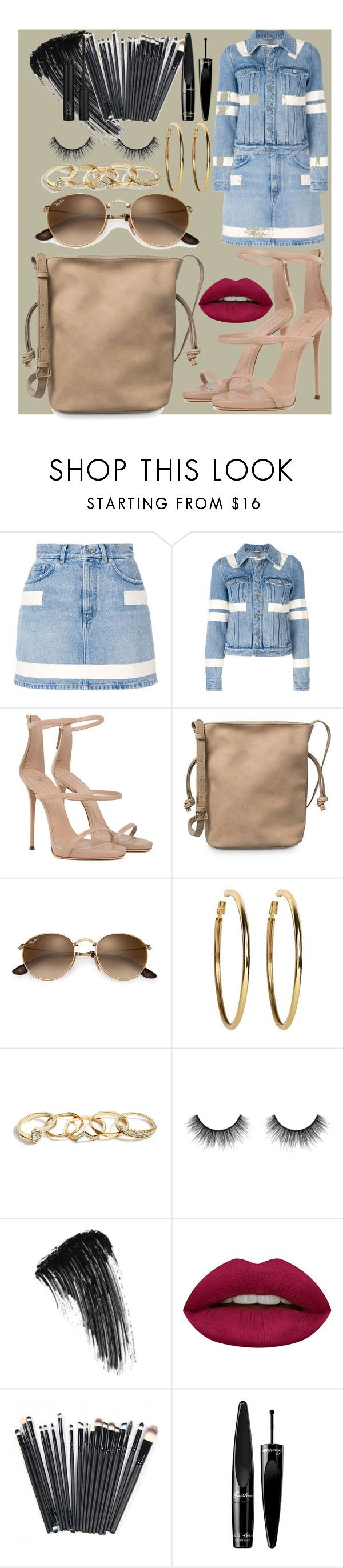 """universal"" by samalbrycht on Polyvore featuring Givenchy, Giuseppe Zanotti, Kenneth Jay Lane, GUESS, Velour Lashes, Eyeko, Huda Beauty, Guerlain and ZOEVA"