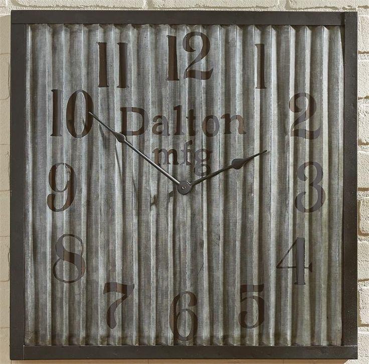 Square Galvanized Industrial Clock