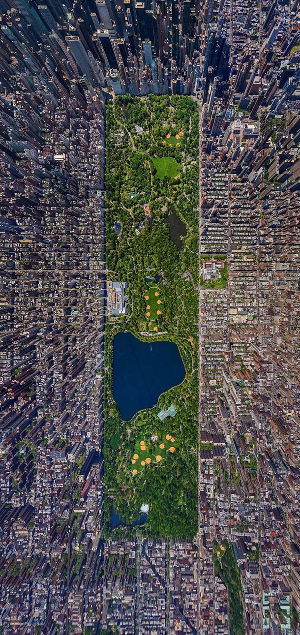 """An impressive aerial photograph of Central Park in New York! An amazing aerial panoramic view created by the Russian photographer Sergey Semenov from a helicopter"" (quote from site). In response to Yanni's article in that, if ""alleged[ly] living close to the land and conducting healthy outdoor labor staved off insanity"" (p.71), in what other architectural aspects are we actually creating/causing insanity?"