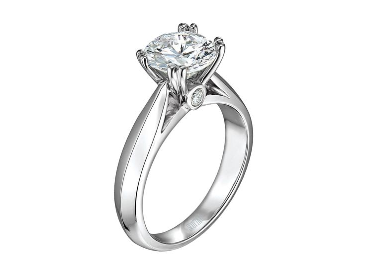 """Collection: RadianceStyle #: M0655RD10 Description: 14k WG Solitaire Mounting  Available Metal: 14kt, 18kt, Platinum, Palladium Ring Setting: Solitaire with double claw prongs and """"peek'a boo"""" diamond on front and back, for a traditional bride. Available at CMI Jewelry Showroom in Raleigh NC"""