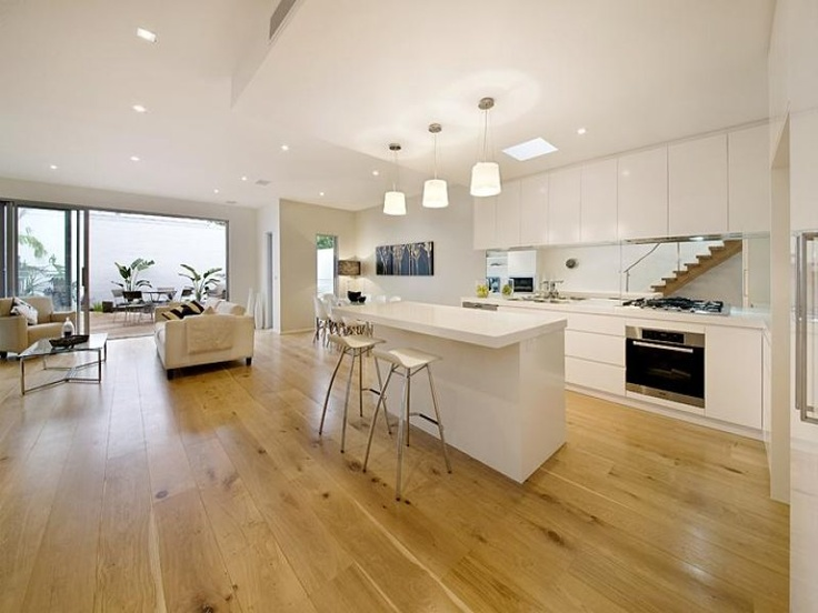 Colour palette - white cabinets, mirror splash back and floorboards