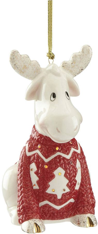 Light up Christmas sweater moose ornament