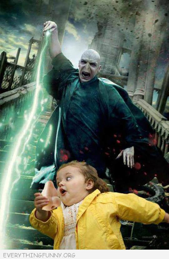 funny caption voledmort has no sense of humor little girl running meme with his nose