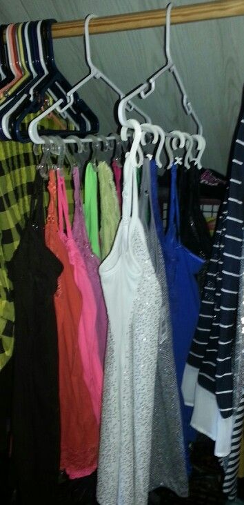 Organized closet! Thanks to some shower rod clips! Super easy and makes lots more room!!! :)
