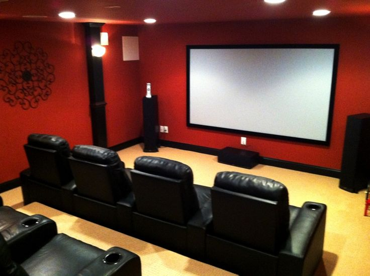 Red black movie room house pinterest black red for Basement theater room