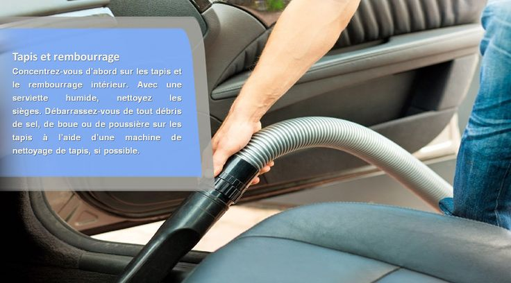 Rafraîchir l'intérieur Lorsque vous vous occupez de l'intérieur de votre voiture, concentrez-vous d'abord sur les tapis intérieurs et le rembourrage.Aspirez les tapis, sous les sièges, le coffre et tout autre compartiment qui nécessite d'être entretenu.Débarrassez-vous de toute la poussière, les impuretés et des débris de sel qui se sont accumulés au cours des derniers mois. #pneusété