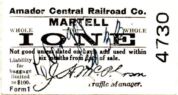 Amador central railroad. Ione Martel