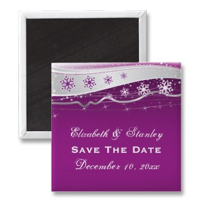 Attractive Purple Silver Grey Snowflake Wedding Save The Date Magnet