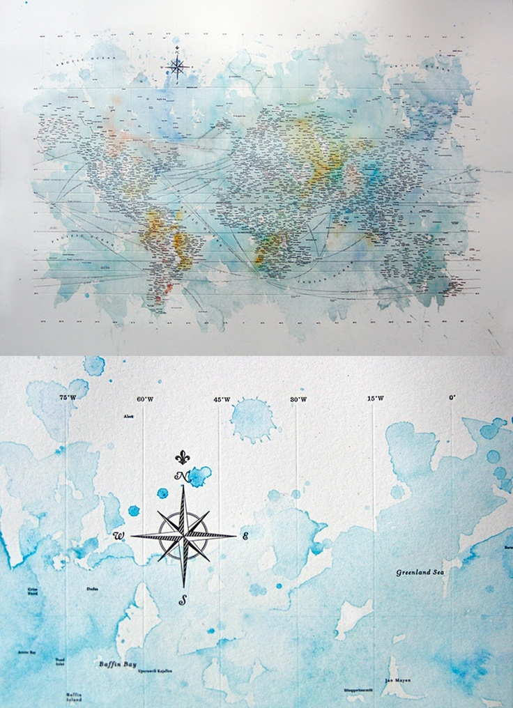 Beautiful typographic and watercolour map from Nancy McCabe